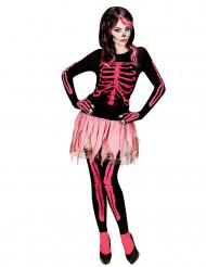 Rosa Skelett-Kostüm für Damen