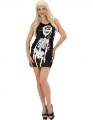 Halloween-Kostüm eines Skeletts mit Pailletten für Damen