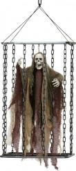 Bewegliche Halloween Dekoration - Skelett im Käfig mit Licht- und Klangeffekten 52 cm