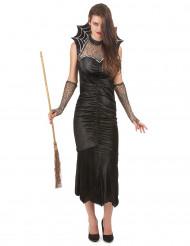 Hexen-Kostüm mit Spinnweben-Kragen für Damen Halloween