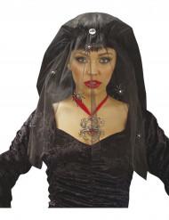 Schwarzer Halloween Schleier für Damen mit Spinnen