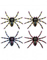 4 fluoreszierende Spinnen Halloween 7,5 cm