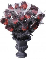 Strauß Rosen mit Spinnenweben und Vase Halloween
