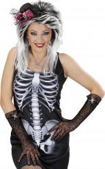 Spinnennetz Handschuhe mit Totenkopf und Strass - Halloween
