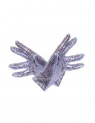 Silberne Glitzer-Handschuhe für Erwachsene