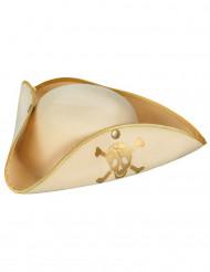 Beige goldener Piraten Dreispitzhut für Erwachsene