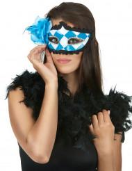 Venezianische Augenmaske weiß-blau Oktoberfest