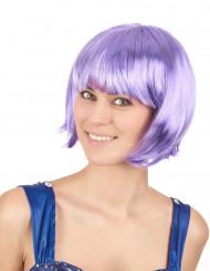Kinnlange lilafarbene Perücke für Frauen