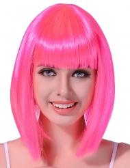 Mittellange Glatthaar - Perücke in Neon Pink für Frauen