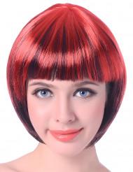 Rot-schwarze Kurzhaar-Perücke für Frauen