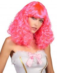 Perrücke mit halblangen welligen und rosa Haaren für Damen