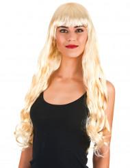 Blonde Perücke mit Wellen und einem Pony für Frauen