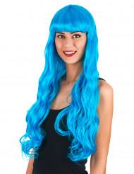 Lange, blaue Lockenperücke für Damen