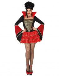 Vampirkostüm für Damen schwarz-rot-goldfarben