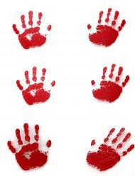 6 blutige Halloween-Handabdrücke