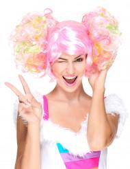 Hellrosa Perücke mit lockigen Zöpfen für Frauen