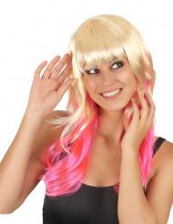 Perücke Tie&Dye in blond und pink für Frauen