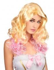 Blond rosa Glamour Perücke für Damen