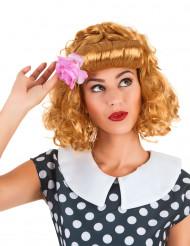 Nostalgische gelbrote Perücke mit schöner Stirnwelle für Frauen