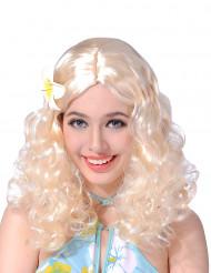 Blonde Perücke mit Blume für Damen