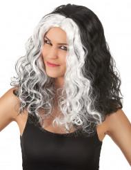 Schwarz-weiße Perücke für Damen