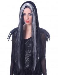Schwarz-weiße Langhaar Perücke für Frauen