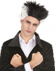 Schwarze und weiße Vampir-Perücke für Männer