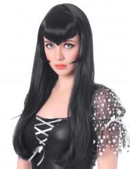Schwarze Vampir Perücke mit langem Pony für Frauen