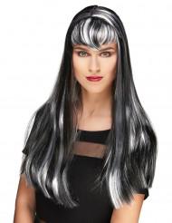 Schwarz weiße Vampir Perücke mit langem Pony für Frauen