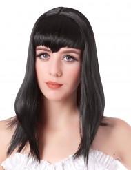 Vampir Perücke mit langen schwarzen Haaren und Pony für Frauen