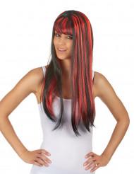 Schwarze Langhaar Perücke mit Pony und roten Strähnen für Frauen