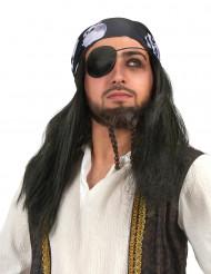 Piratenperücke mit Totenkopf Bandana für Herren