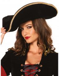Eleganter Piratenhut für Erwachsene schwarz-goldfarben
