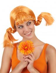 Orange Zöpfe Perücke für Damen