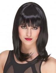 Deluxe Perücke mit schwarzem mittellangem Haar für Frauen - 170g