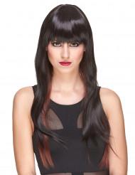 Delux-Perücke mit sehr langen, kastanienbraunen Haaren mit Strähnen für Frauen
