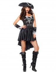 Piratenkapitän-Kostüm für Damen schwarz-weiss
