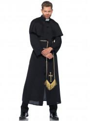 Priesterkostüm für Herren schwarz-weiss-goldfarben