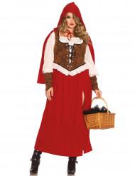 Rotkäppchen-Kostüm Plus Size für Damen braun-weiss-rot