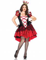 Herzkönigin-Damenkostüm Plus Size schwarz-rot-weiss