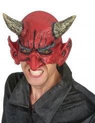 Halb-Maske Teufel aus Latex für Erwachsene