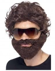 Braune Perücke mit Bart für Erwachsene