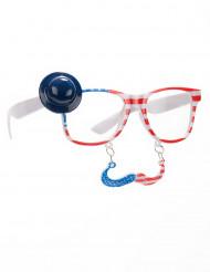 USA Brille mit Schnurbart