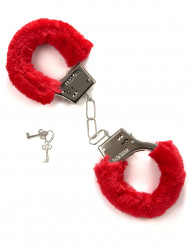 Rote Handschellen mit Plüschbezug