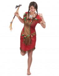 Indianer-Kostüm in Rot für Damen