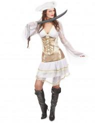 Sexy Piraten-Kostüm für Damen in Weiß