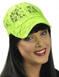 Neongrüne Schirmmütze aus Spitze für Damen
