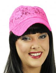 Basecap aus pinker Spitze
