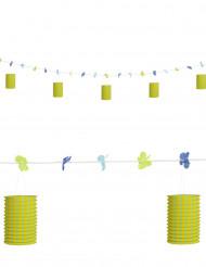 Lampion Girlande mit Blumen - grün-gelb