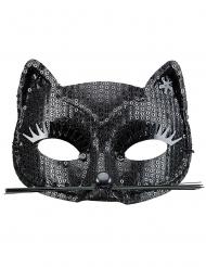 Schwarze Katzen Augenmaske mit Pailletten für Erwachsene